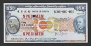 United States 50 Dollars Travelers Cheque Specimen Bank Of China