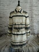 Peruvian Connection Striped Trench Coat Size 12 Medium