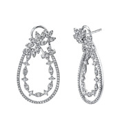 Diamond Twist Marquee Leaf Drop Earring 14k Rose Gold Natural Round 1.06ct 1.30