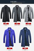 Menand039s Lapel Slim Fit Woolen Jacket Mid Long Trench Outwear Fall Coat