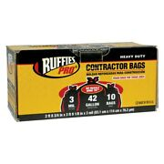 Ruffies Pro 1124882 42 Gal Black Heavy Duty Contractor Bag Pack 10 Pieces