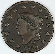 1828 United States Coronet Head One Large Cent Penny - F Fine - Small Wide Date