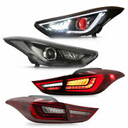 Headlights W/demon Eyes+red Clear Taillights For Elantra 11-16 Sedan 13-14 Coupe