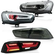 Free Shipping To Pr For 08-17 Lancer All Black Headlights Demon+smokd Taillights
