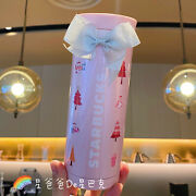 Starbucks 2021 China Pink Pearly Christmas Tree Thermos Cup New Year Gift 11oz