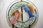 Peggy Karr Fused Glass 10 Bowl Angels With Trumpet And Harp Euc