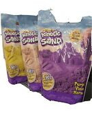 Lot Of 3 2 Lb Bags Kinetic Sand - Yellow Purple And Sand Colored 6 Lbs Total