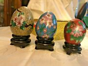 Set Of Three Cloisonne Eggs Lillian Vernon On Stands In Box