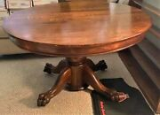 Early American Oak Claw Foot Round Dining Table Antique Vintage