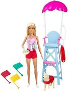 Barbie Lifeguard Playset Blonde 12 Doll With Swim Outfit Lifeguard Chair