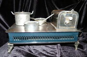 Antique C.1900 German Stove And Pans Larger Dollhouse Miniature Childs Toy