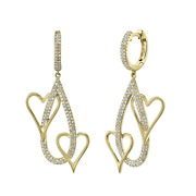 Diamond Double Heart Pear Drop Earrings 14k Yellow Gold Natural Round 1.60 Long