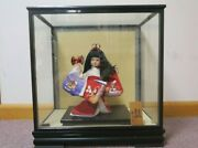 Vintage Japanese Hagiwara Doll In Glass Case With Wooden Sign Free Shipping