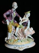 Capodimonte Italy 14 Tall Victorian Courting Couple Figurine Mint