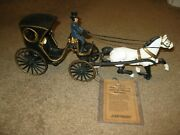 Vintage John Wright Cast Iron Horse And Carriage Buggy With Tag