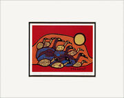 Flock Of Loons 11 X 14 Matted Art Card Anishinaabe - Norval Morrisseau 9088