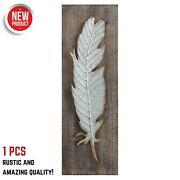 Metal Feather Bird Sculpture Rustic Wood Wall Hanging Home Farmhouse Decor Gift