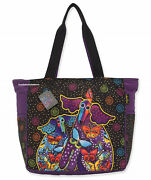 Laurel Burch Dog And Papillon Butterfly Starburst Oversize Tote Bag Pockets 2021