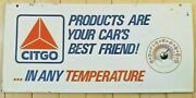 Vintage Original Citgo Oil Co Two Sided Metal Sign With Built In Thermometer