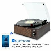 Bluetooth Record Player Belt-driven 3-speed Turntable Built-in Stereo Speakers