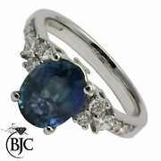 18ct White Gold Sapphire And Diamond Solitaire Size L Engagement Ring British Made