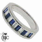 18ct White Gold Sapphire And Diamond Eternity Size N Engagement Ring British Made