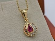 Bjcandreg 14ct Yellow Gold Natural Ruby And Diamond Teardrop Pendant And Necklace P29