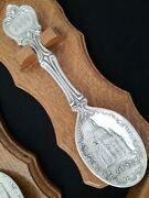 Vintage Embossed Pewter Collectible Spoon Set Of 9 Sks W/wood Trays