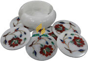 Marble Drink Coasters Set Of 6 With Holder Andndash Home Decor Marble Coaster Set