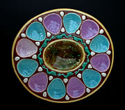 Large Antique Majolica Oyster Serving Dish English 1880