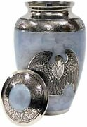 Brass Cremation Urns For Adult Ashes Angel Silver Sky Blue Color Large Size