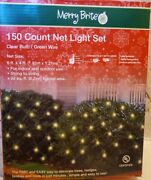 150 Count Net Lights Christmas 6-ft X 4-ft Clear Tree Bush Decor Merry Brite New