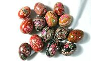 Lot Of 14 Vintage Hand Painted Decorative Wooden Eggs Russian Colorful Decor