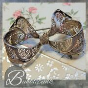 Antique Spun Silver Filigree Dimensional Bow Pin Estate Jewelry Buy-out
