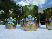 Antique Fenton Carnival Glass Green ''forget Me Not'' Tumblers - Set Of 5