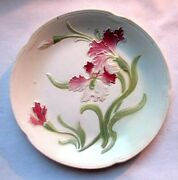 Rare French Majolica Plate Art Nouveau Decoration Of Pink Orchids