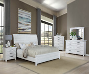 New Weathered White Rustic Farmhouse 5pc Queen King Modern Bed Set Bed/d/m/n/c