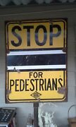 Awesome 1940and039s - 1950and039s Porcelain Aaa Pedestrian Sign......double Sided........l