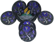 Marble Coasters Set Of 6 With Holder Andndash Home Decor Marble Coaster Set Inlay