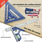7 Rafter Square Carpenters Measuring Layout Ruler Level Tool Set Angle Aluminum