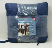Whitley Willows Reversible 2 Pk Plush Chenille Chair Pads Blue Cushions