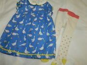 Rare Mini Baby Boden Girls 12-18 Months Duck Geese Lined Dress And Tights Euc