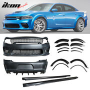 Fits 15-20 Dodge Charger Widebody Whole Bumper Side Gloss Black Diffuser Kits