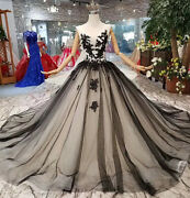 Victorian Gothic Black Wedding Dresses Lace Appliques Forest Vintage Ball Gown