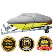 Gray Heavy Duty Boat Cover 600d 17-19 Ft To 96 Marine Grade Polyester Canvas