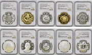 1998 China Silver 1oz Currency Treasures Medal 10 Pieces Set Ngc Pf68/69uc