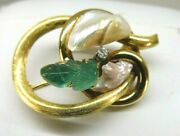 Antique 22k Yellow Gold Carved Emerald Pearl Diamond Pin 10.7 Grams 1.25x1.75