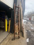 Vintage Rolling Hardware Store Ladder 8andrsquo H Oak With Track And Roller Hardware