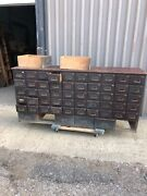 """Stunning Vintage 56 Drawer Apothecary Cabinet Maple W Brass Hardware 72/34.5/17"""""""