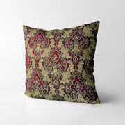 Wk204a Dark Red Gold Damask Chenille Flower Throw Cushion Cover/pillow Case